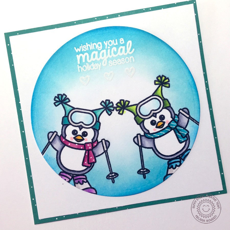 Sunny Studio Stamps Snow Kissed Skiing Penguins Square Card