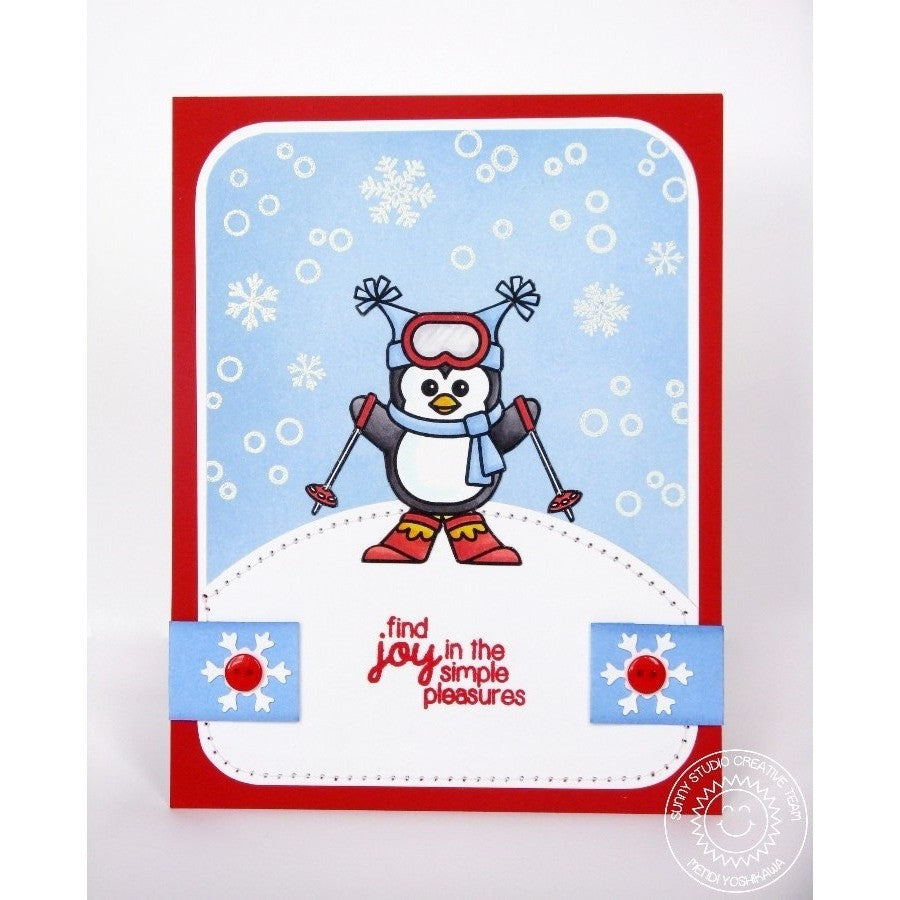 Sunny Studio Stamps Snow Kissed Skiing Penguin Card