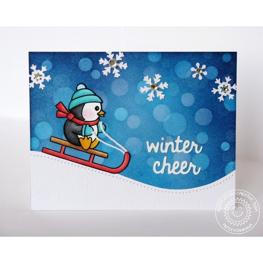Sunny Studio Stamps Snow Kissed Winter Cheer Sledding Penguin Card