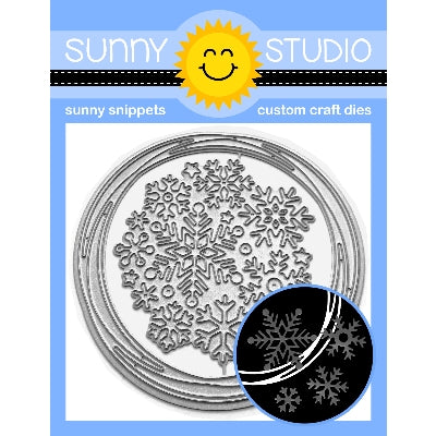 Sunny Studio Stamps Snowflake Circle Frame Metal Cutting Die with Loopy Circle & 10 Winter Snowflakes