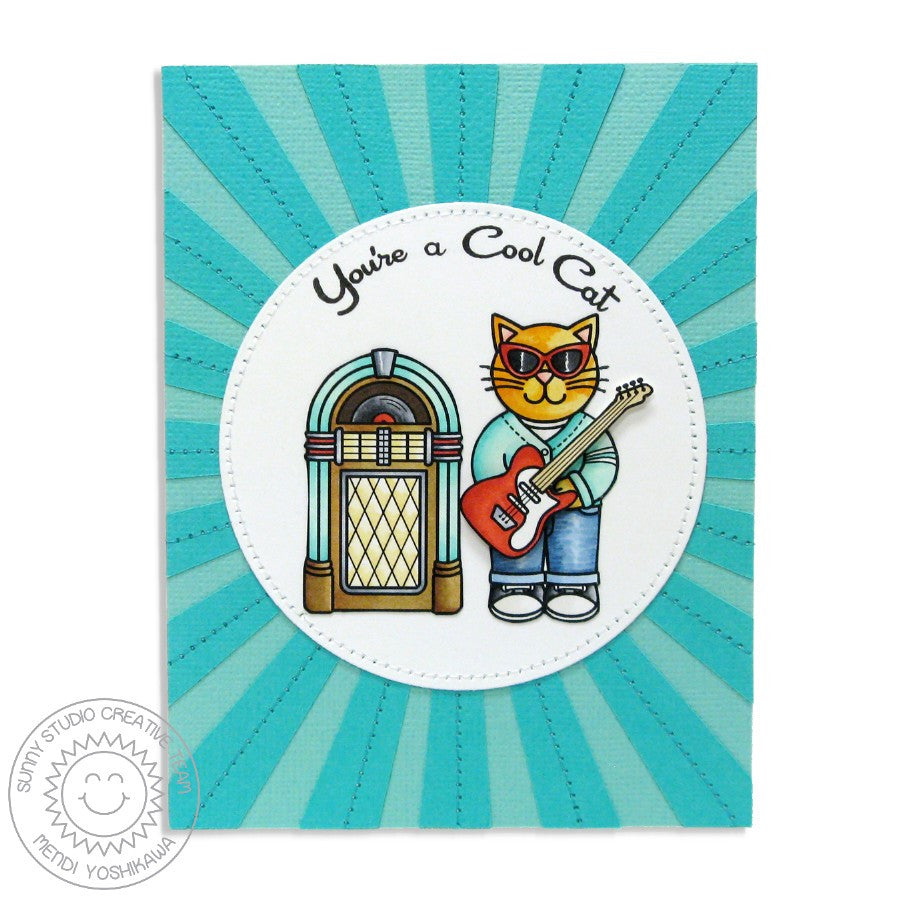 Sunny Studio Stamps Sock Hop Retro 1950's Sunburst Jukebox & Guitar Cool Cat Card