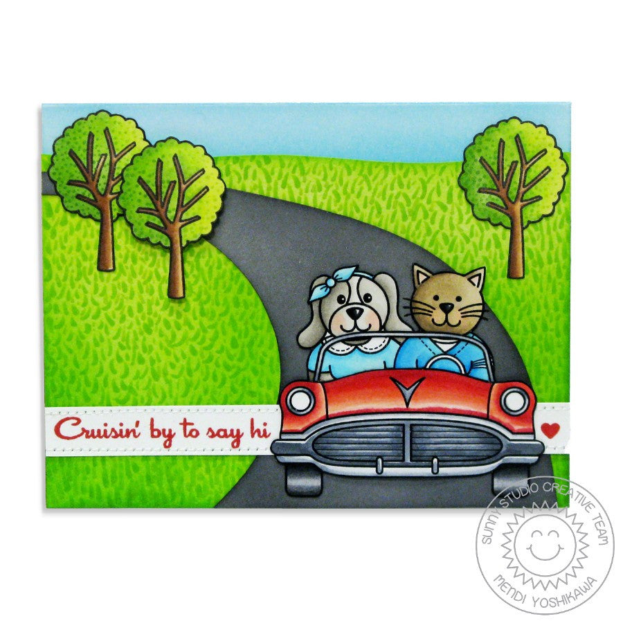 Sunny Studio Stamps Sock Hop Retro 1950's Cruisin' Car Card