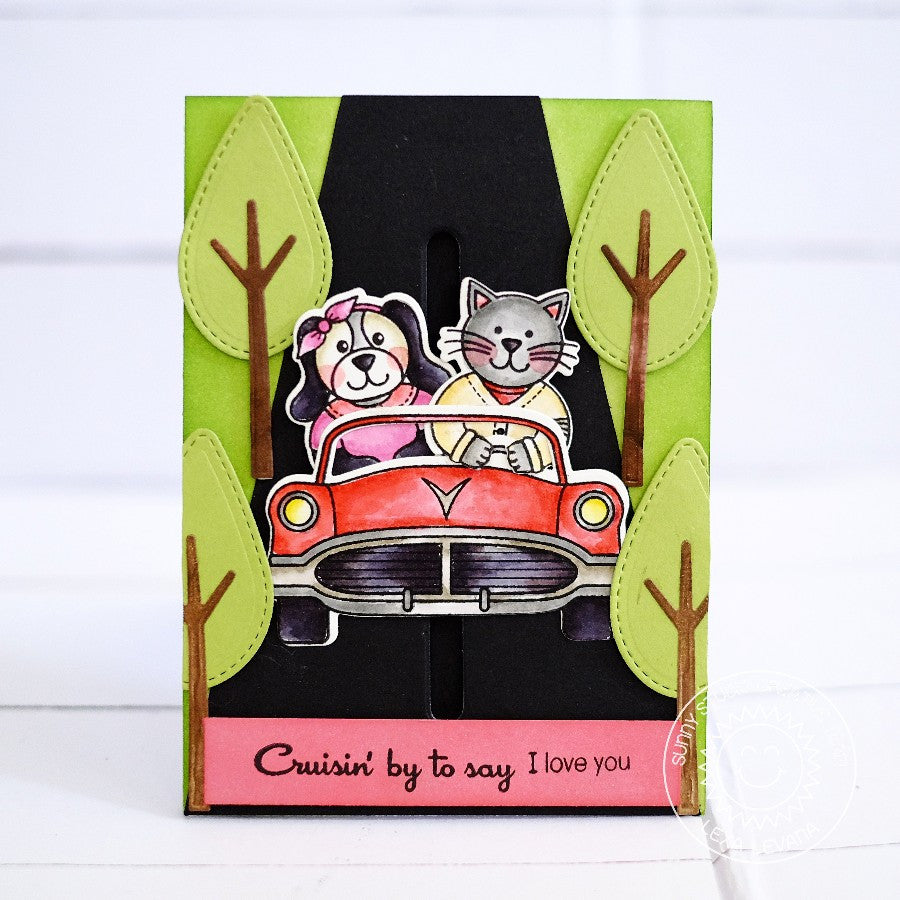 Sunny Studio Stamps Sock Hop Retro 1950's Cruising By Car Card