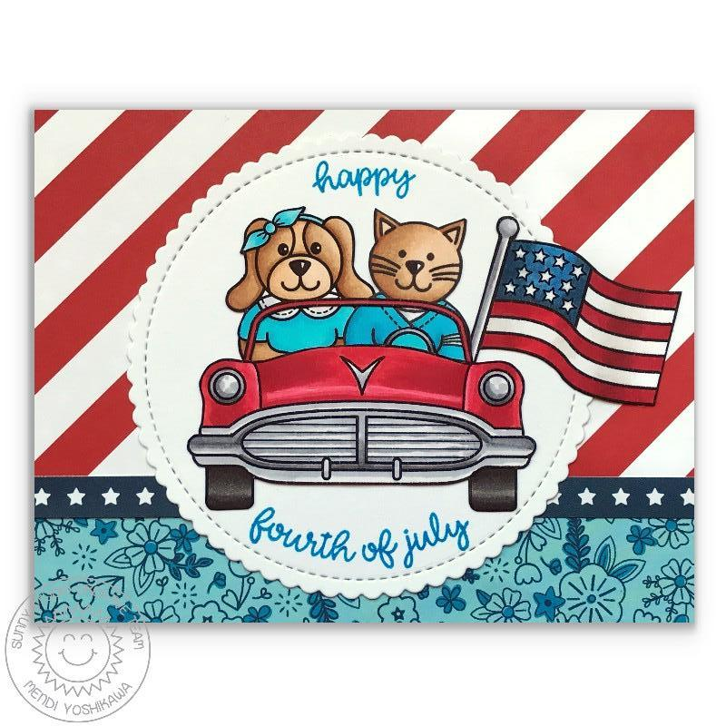 Sunny Studio Stamps Sock Hop Fourth of July Car Card with Dog & Cat In Parade
