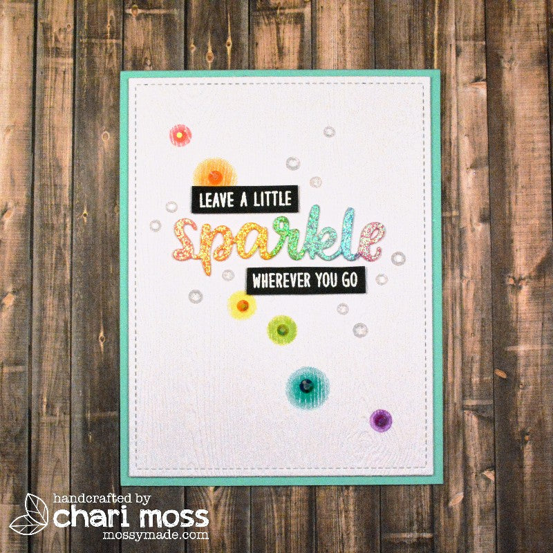 "Sunny Studio Stamps Born To Sparkle ""Leave A Little Sparkle Wherever You Go"" Rainbow Card"
