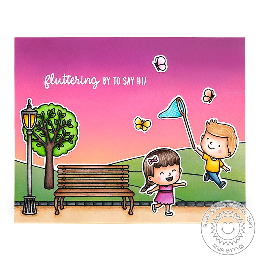Sunny Studio Stamps Fluttering By To Say Hi Kids Playing At The Park Handmade Card (using Spring Scenes Borders 4x6 Clear Photopolymer Stamp Set)