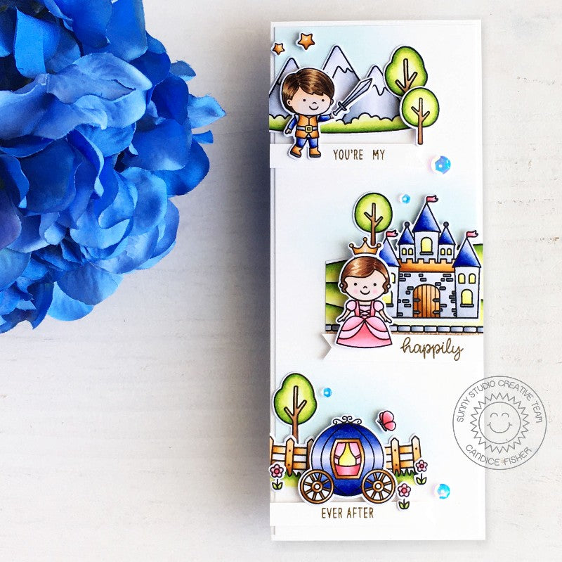Sunny Studio Stamps Fairytale Princess You're My Happily Ever After Castle, Carriage and Prince Slimline Handmade Card (using Enchanted 4x6 Clear Photopolymer Stamp Set)