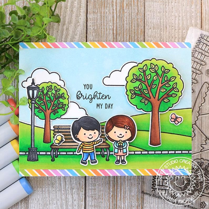 Sunny Studio Stamps You Brighten My Day Kids at the Park with Trees and Butterflies Rainbow Striped Handmade Card (using Spring Scenes Border 4x6 Clear Photopolymer Stamp Set)