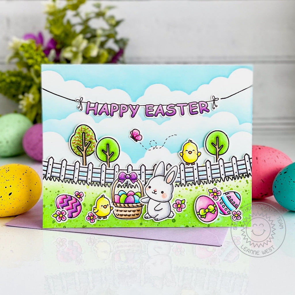 Sunny Studio Stamps Happy Easter Bunny, Chick, Basket, Eggs & Butterfly Scene with Fence Border Handmade Card (using Spring Scenes Border 4x6 Clear Photopolymer Stamp Set)
