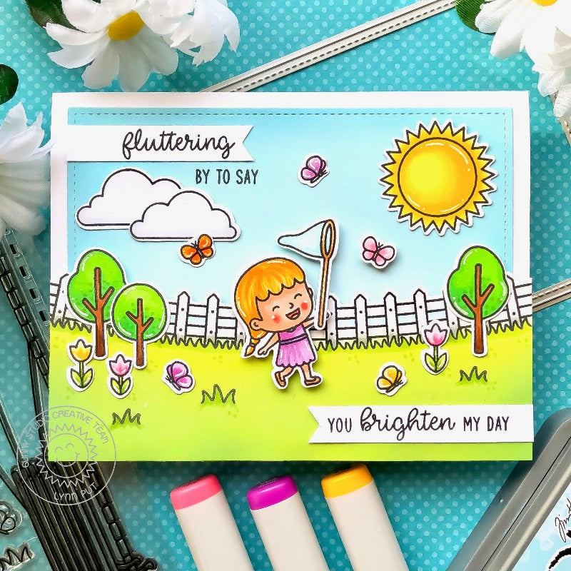 Sunny Studio Stamps Spring Scene Card with Girl Chasing Butterflies with Net Card (using Sunshine from Sunny Sentiments Stamp Set)
