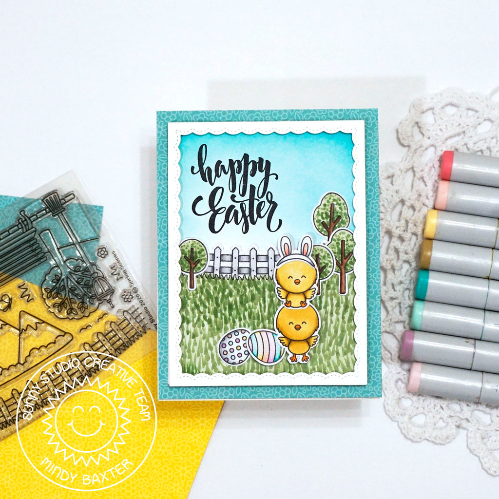 Sunny Studio Happy Easter Stacked Chicks outside with Trees, Grass & Eggs Handmade Card (using Chickie Baby 4x6 Clear Photopolymer Clear Stamp Set)