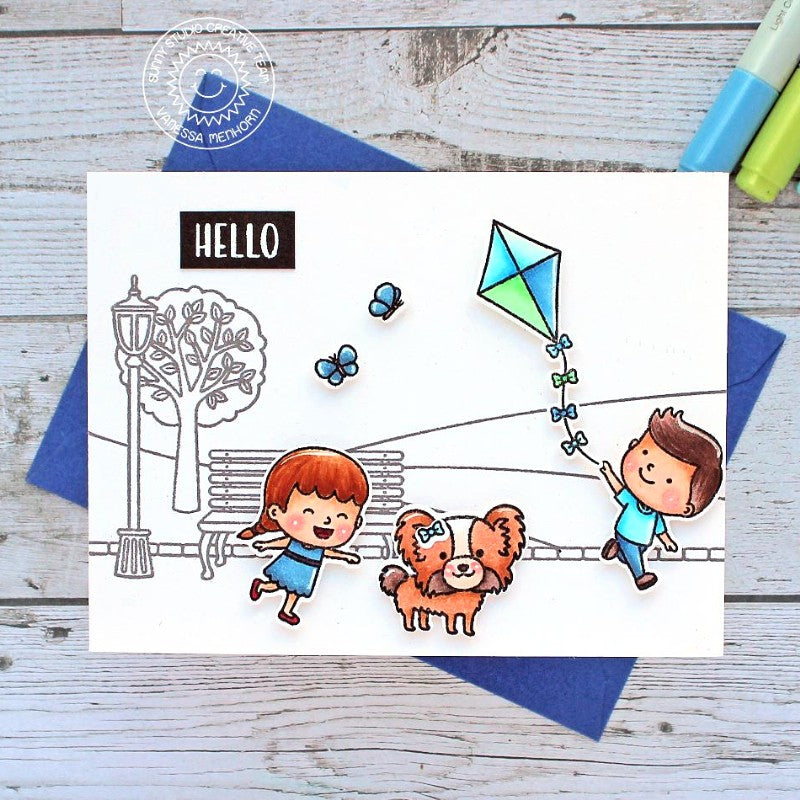 Sunny Studio Stamps B&W Clean & Simple Kids Playing At The Park with Dog Handmade Hello Card (using Spring Scenes Borders 4x6 Clear Photopolymer Stamp Set)