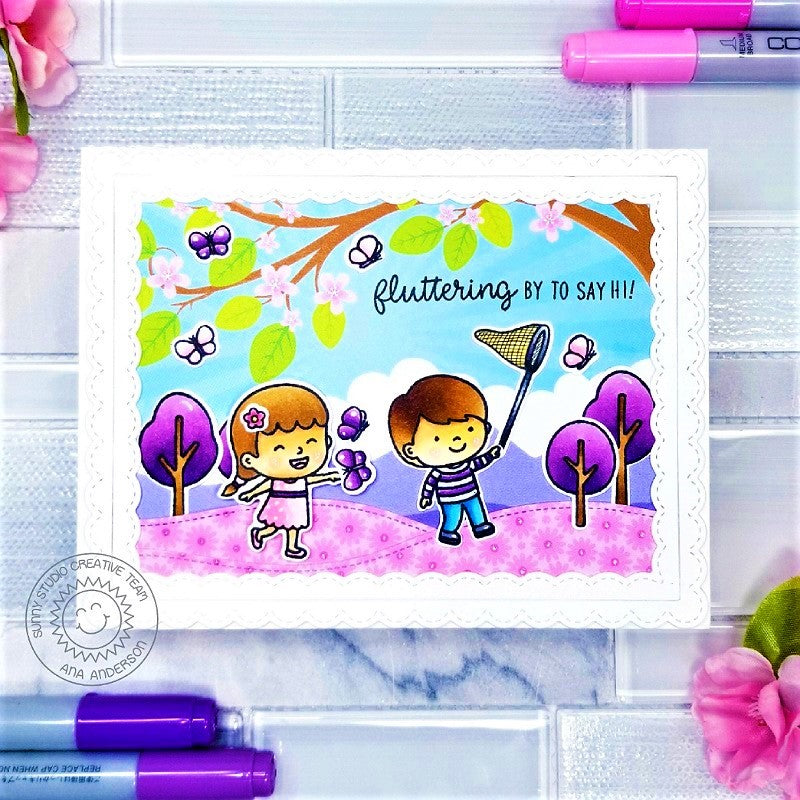 Sunny Studio Stamps Fluttering By To Say Hi Butterfly Catcher Kids Playing At the Park Pink & Purple Handmade Card (using Spring Showers 4x6 Clear Photopolymer Stamp Set)