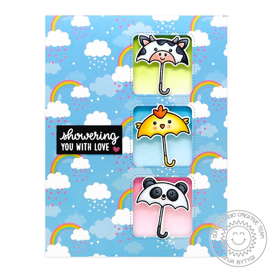 Sunny Studio Stamps Showering You With Love Cow, Chick & Panda Umbrellas with Rainbows Handmade Card (using Window Trio Square Metal Cutting Dies)