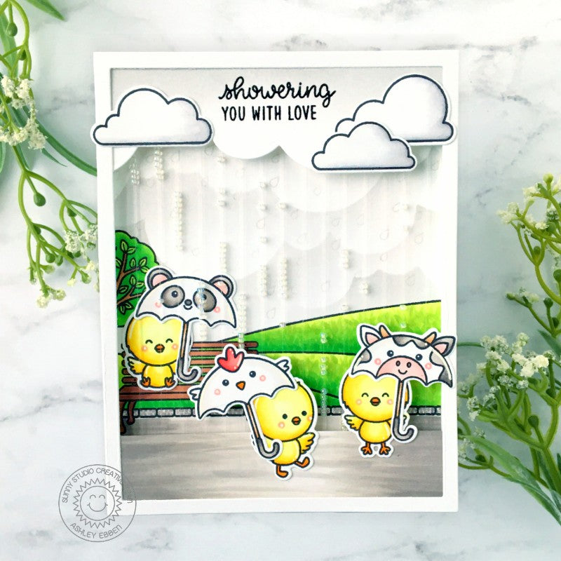 Sunny Studio Stamps Showering You With Love Beaded Rain Chicks Carrying Panda, Chicken & Cow Umbrellas Handmade Card (using Spring Showers 4x6 Clear Photopolymer Stamp Set)