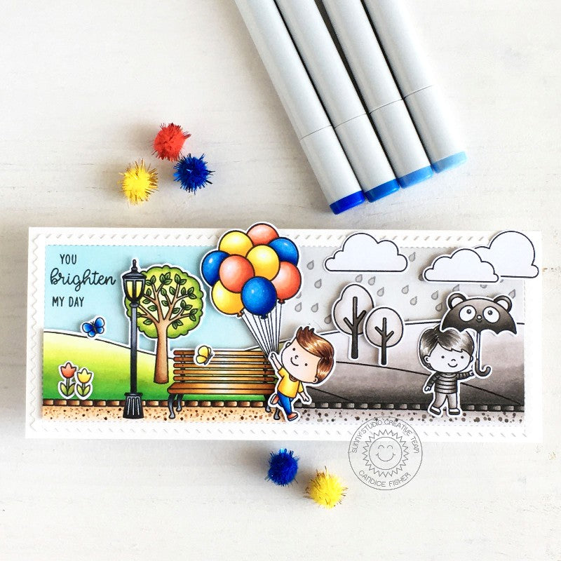 Sunny Studio Stamps Boy with Balloons & Umbrella at Park Black & White to Rainbow Color Handmade Card (using Spring Showers 4x6 Clear Photopolymer Stamp Set)