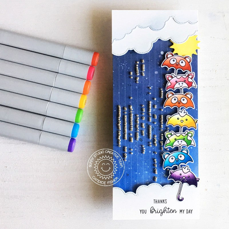 Sunny Studio Stamps You Brighten My Day Rainbow Critter Umbrellas Handmade Slimline Card with Microbeads as raindrops (using Spring Showers 4x6 Clear Photopolymer Stamp Set)