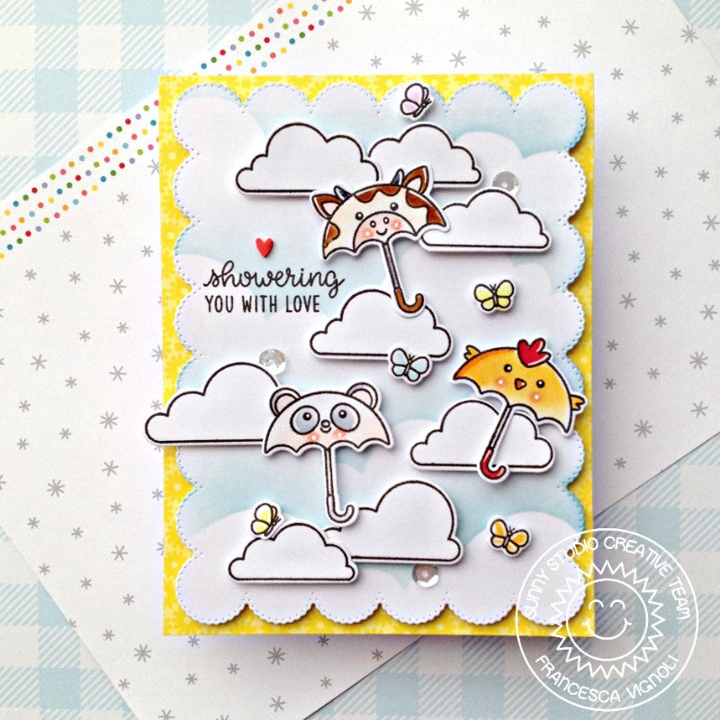 Sunny Studio Stamps Showering You With Love Critter Umbrellas with Clouds Handmade Card (using scalloped Frilly Frames Eyelet Lace Background Backdrop Mat Metal Cutting Dies)