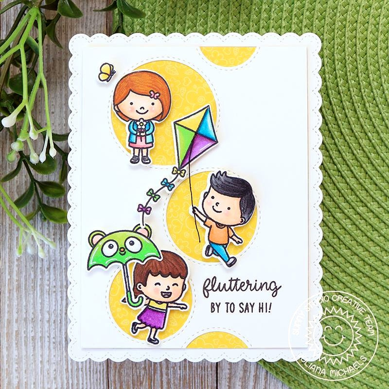 Sunny Studio Stamps  Fluttering By To Say Hi Children with Kite, Umbrella & Holding Flower Bouquet Stitched Circle Handmade Card (using Spring Showers 4x6 Clear Photopolymer Stamp Set)