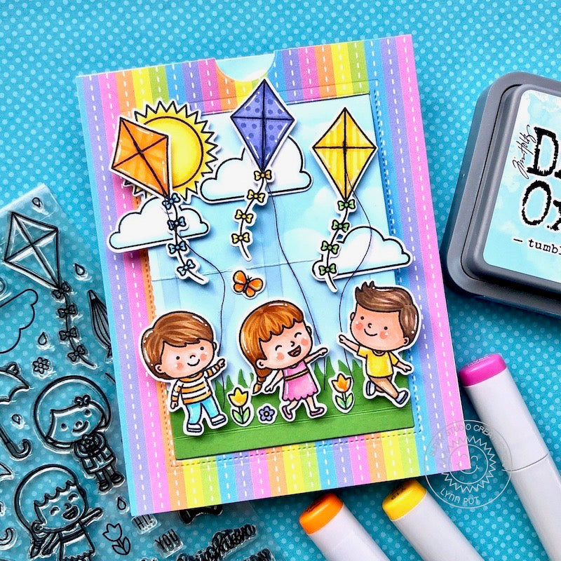 Sunny Studio Stamps Rainbow Striped Kids Flying Kites Interactive Pop-up Handmade Card (using Spring Showers 4x6 Clear Photopolymer Stamp Set)