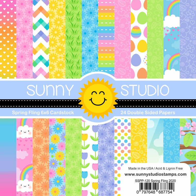 Sunny Studio Stamps Spring Fling 6x6 Double-sided Tone-on-Tone Pastel Patterned Paper Pack Pad