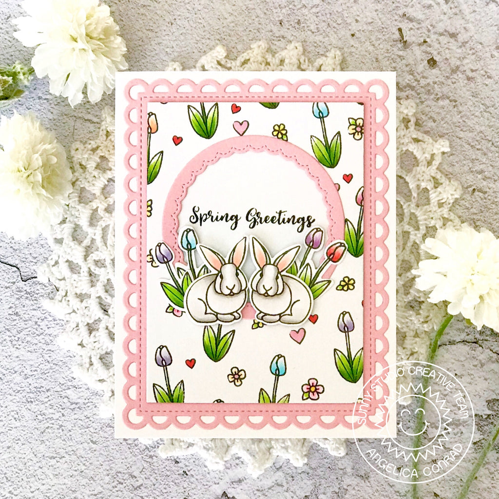 Sunny Studio Spring Greetings Easter Bunny Pink Card (using Frilly Frames Lattice Dies)