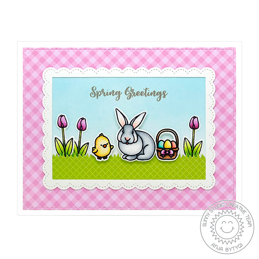 Sunny Studio Stamps Spring Greetings Easter Bunny & Tulips Card (using Gingham Pastels 6x6 Paper Pad)
