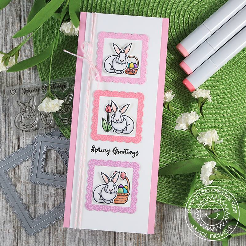 Sunny Studio Stamps Spring Greetings Bunnies & Tulip Easter Card (using Stitched Scalloped Fancy Frames Square Dies)