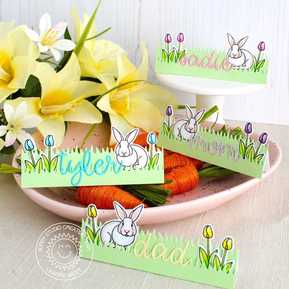Sunny Studio Stamps Personalized Easter Bunny Place Cards using Loopy Letters Alphabet Dies