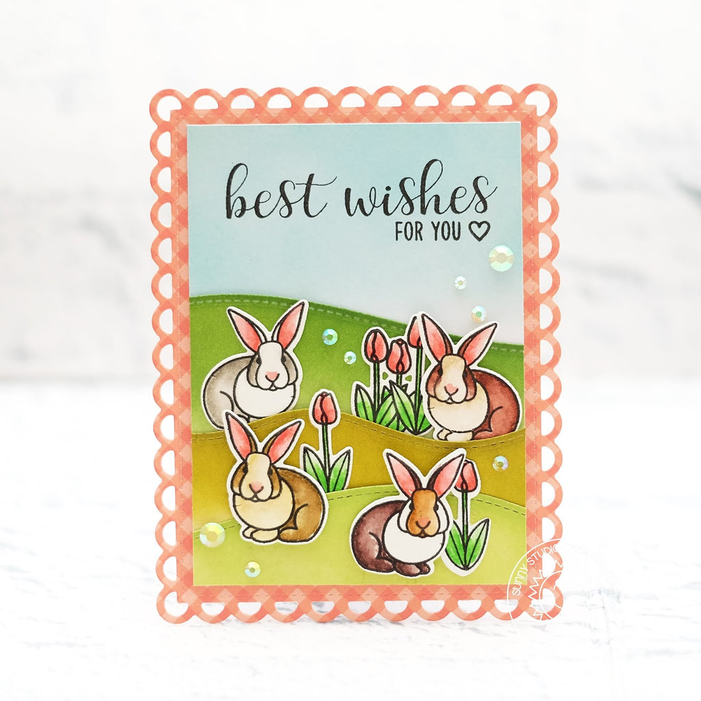 Sunny Studio Best Wishes For You Spring Bunny Rabbit Card (using Everyday Greetings stamps)
