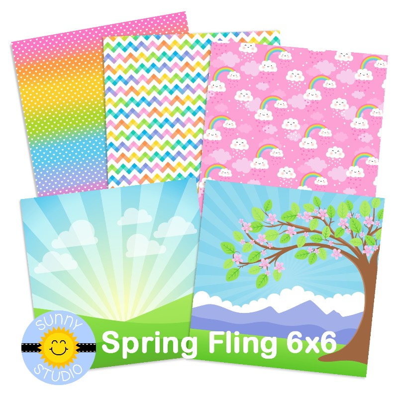 Sunny Studio Stamps Spring Fling 6x6 Double-sided Tone-on-Tone Pastel Patterned Paper Examples featuring Rainbow Ombre, Rainbows & Clouds, Chevron, Sunburst Scene & Cherry Blossoms Tree Scene