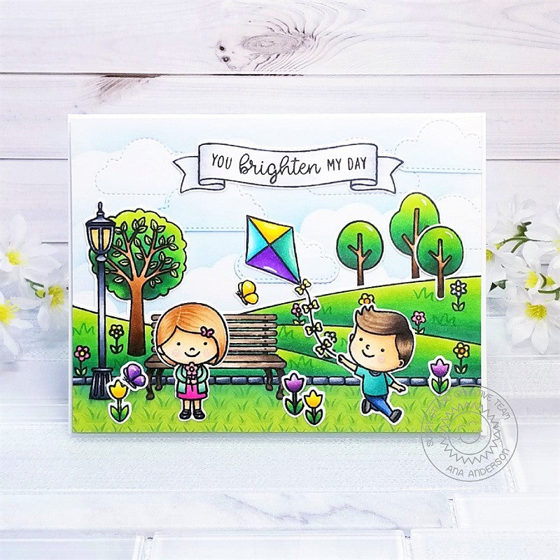 Sunny Studio Children Flying Kites at The Park Handmade Scene Card (using Spring Scenes Border Clear Stamps)