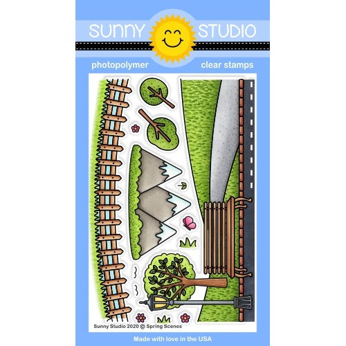 Sunny Studio Stamps Spring Scenes Everyday Backgrounds Borders 4x6 Clear Photopolymer Stamp Set with Fence, Mountains, Trees, Park Bench & Street Lamp Post
