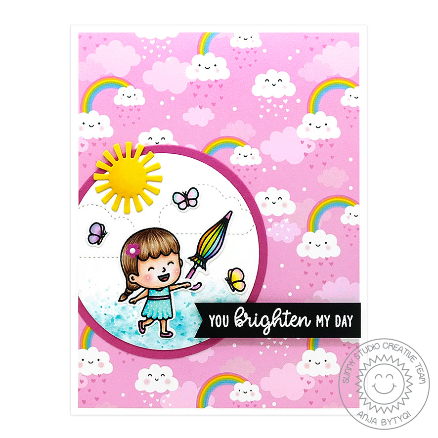 Sunny Studio Spring Pink Rainbow Girl With Umbrella Handmade Card (using Spring Fling 6x6 Patterned Paper Pack)