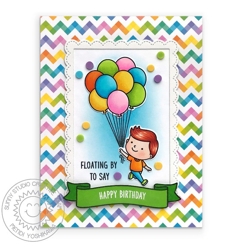 Sunny Studio Boy with Rainbow Chevron Balloons Handmade Birthday Card by Mendi Yoshikawa (using Banner Basics 4x6 Clear Stamps)