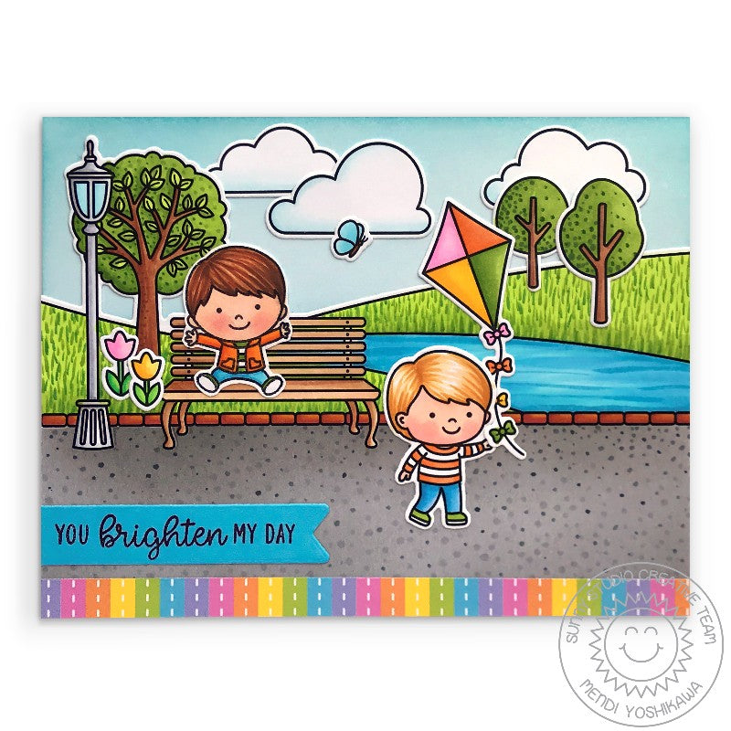 Sunny Studio Rainbow Striped Boy Flying Kite at Park Handmade Card (using Spring Scenes 4x6 Border Clear Stamps)