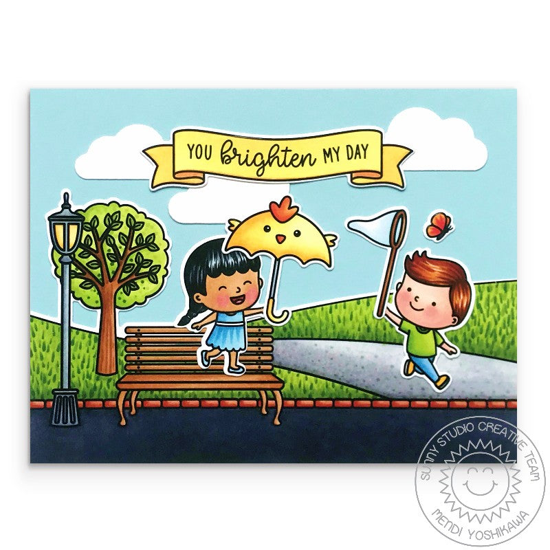 Sunny Studio Stamps Spring Showers Girl with Chick Umbrella and Boy with Butterfly Net at the Park Handmade Card by Mendi Yoshikawa