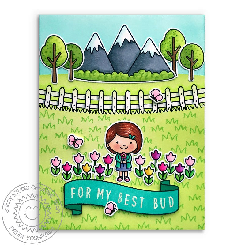 "Sunny Studio Stamps Spring Showers ""For My Best Bud"" Girl with Field of Tulip Flowers and Mountains Punny Handmade Card by Mendi Yoshikawa"