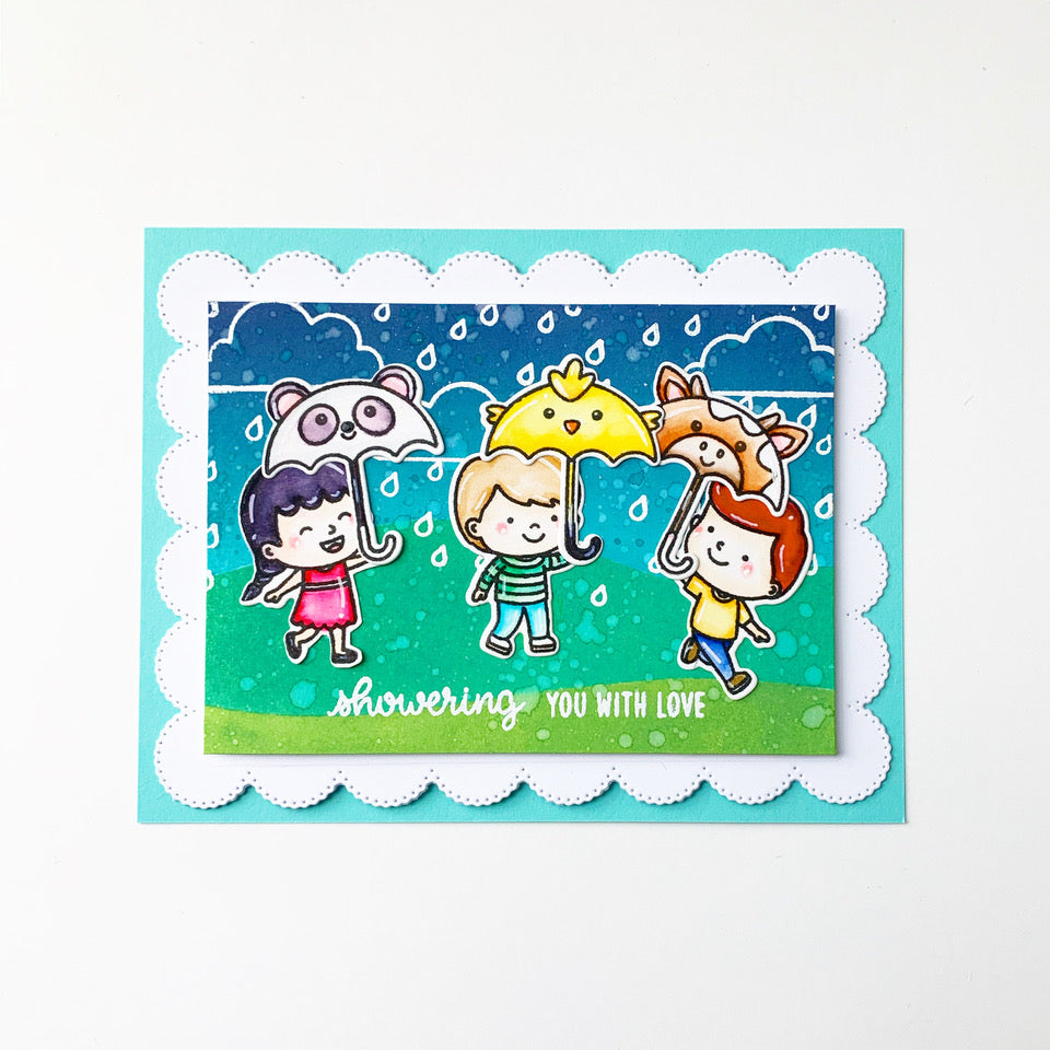 Sunny Studio Stamps Spring Showers Kids with Panda, Chick & Cow Umbrellas Handmade Card by Jane
