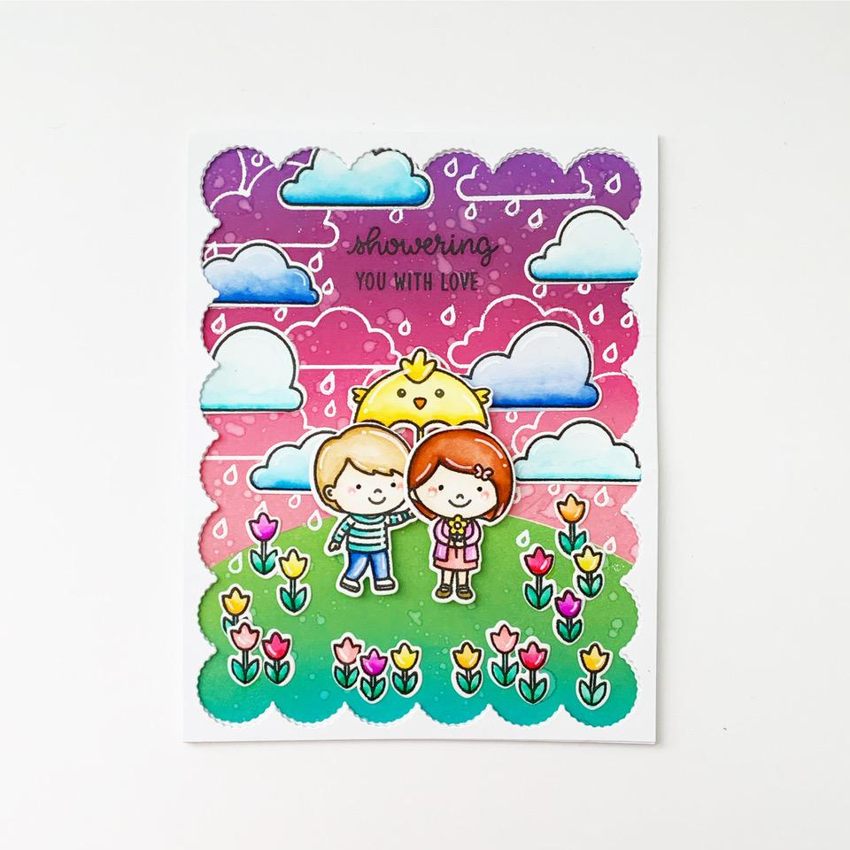 Sunny Studio Stamps Rainy Day Kids with Tulips and Chick Umbrella Card (using Frilly Frames Eyelet Lace Background Backdrop Cover Plate Cutting Die)