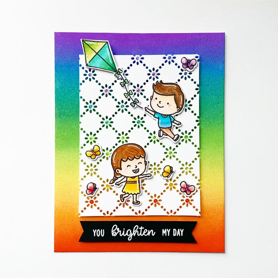 Sunny Studio Stamps Spring Rainbow Kite Card (using Frilly Frames Eyelet Lace Background Backdrop Cover Plate Cutting Die)