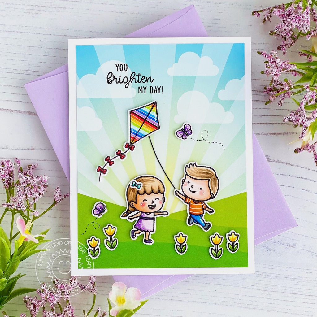 Sunny Studio Stamps: Spring Showers Kids Flying Kite Card (using Sunray Sunburst Patterned Paper from Spring Fling 6x6 Paper Pack)