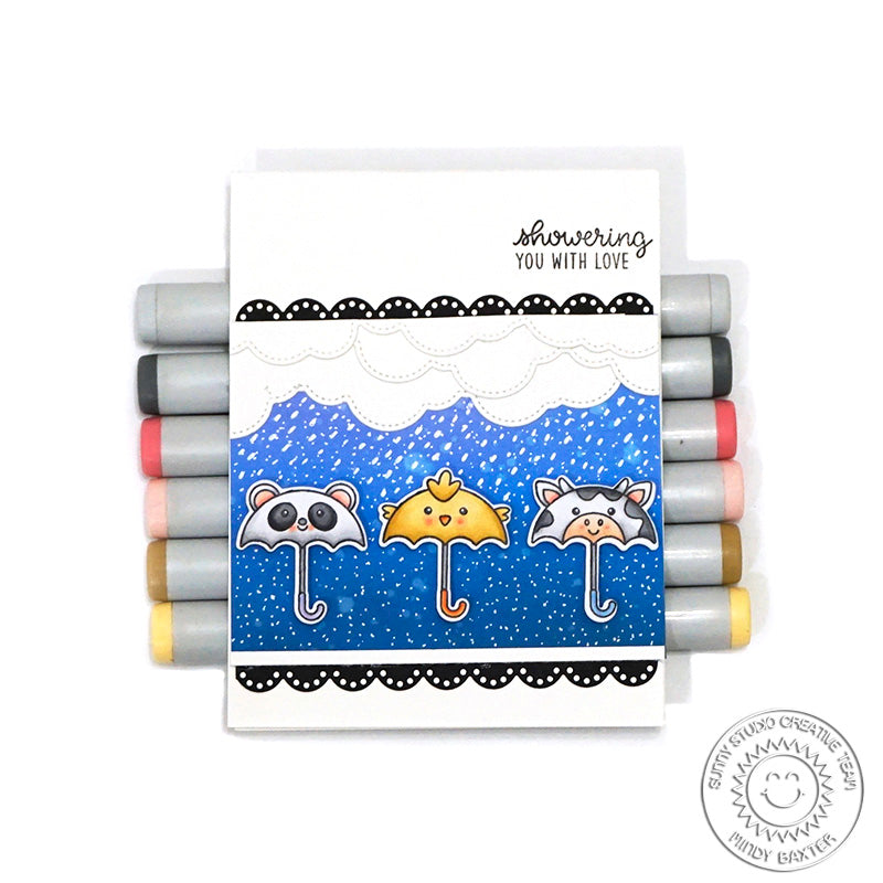 Sunny Studio Stamps: Spring Showers Panda, Chick & Cow Umbrella Rainy Day Card by Mindy Baxter