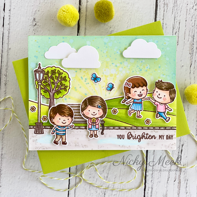 Sunny Studio Stamps Spring Showers Kids Playing At The Park with Bench, Lamp Post & Pathway Handmade Card by Nicky Meek