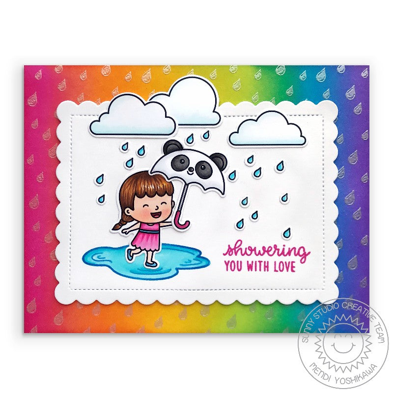 "Sunny Studio Stamps Spring Showers ""Showering You With Love"" Girl with Puddle, Rain Clouds and Panda Umbrella Rainbow Handmade Card by Mendi Yoshikawa"