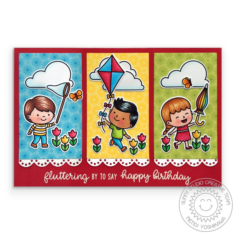 Sunny Studio Stamps Spring Showers Kids with Butterfly Net, Flying Kite and Umbrella Handmade Card with Scalloped edge (using Eyelet Lace Border Dies)