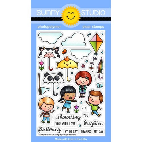 Sunny Studio Stamps Spring Showers Panda, Chick & Cow Umbrella with Clouds, Kite, Butterflies and Kids 4x6 Photopolymer Clear Stamp Set