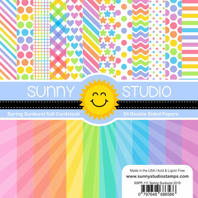 Sunny Studio Spring Sunburst Rainbow Polka-dot & Striped 6x6 Patterned Paper Pack with 24 double-sided sheets of 65 lb. Cardstock