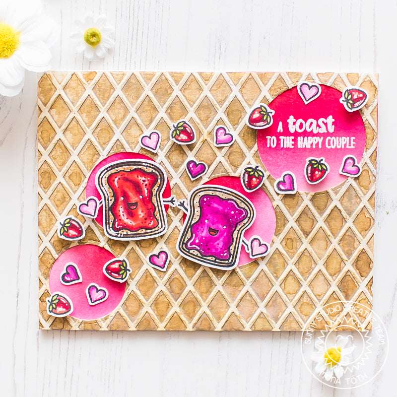 Sunny Studio Stamps Breakfast Puns Toast to the Happy Couple Card (with waffle texture from Dapper Diamonds 6x6 Embossing Folder)