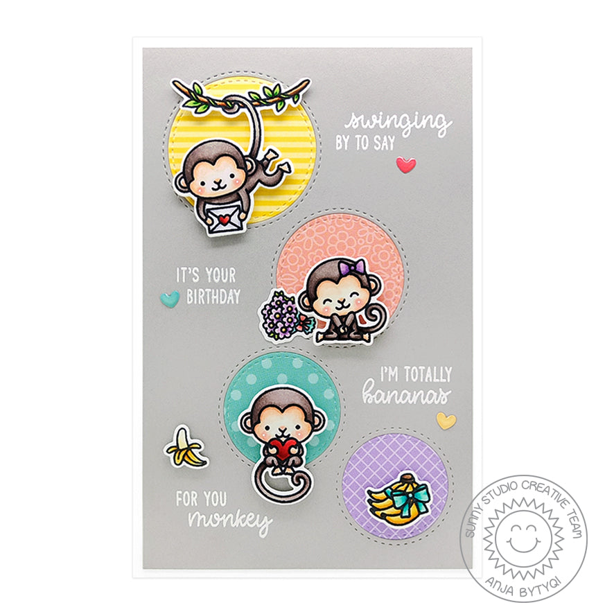 Sunny Studio Stamps Monkey Love Card (using Staggered Circles Die)